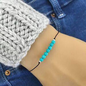 4mm Natural Turquoise Healing Beaded Gemstone Silk Cord Tie Bracelet/Anklet