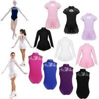 Kids Girls Ballet Dance Leotard Dress Lace Ice Skating Dress Gymnastic Costume