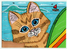 TAMBRA Red Sailboat Surf Kitty Ginger Tabby CAT Beach ACEO Art Original Painting
