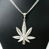 "Large 2 3/4"" Genuine Solid 925 Sterling Silver Cannabis Leaf Marijuana Pendant"