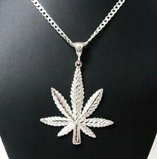 "Large 2 3/4"" Genuine Solid 925 Sterling Silver Cannabis Leaf Marijuana Pendant"
