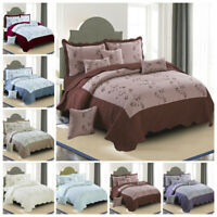 Quilted Bedspread Embroidered Bedding Set Pillow Case Double King Size Bed Throw