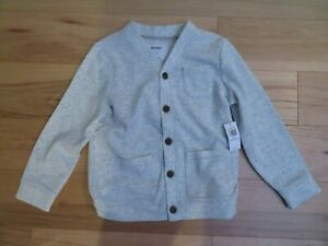 NWT NEW OLD NAVY Boys lightweight 5T Gray Button Front Cardigan Sweater Pockets