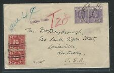 FIJI ISLANDS (P1112B)  KGV 1D X2 SHORT PAID TO USA TAXED 4C, 2CX2 POSTAGE DUES