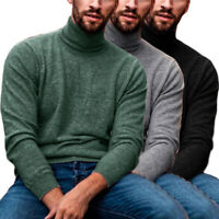 New Mens Turtleneck Jumper Pullover Knitted Roll Neck Knit Top Sweatshirt Shirt