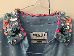 Essentiel Antwerp Polka Dot Embellished Collar Shirt Blouse 36 8 10 12 BNWOT