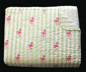 3-Pc Kensie FLAMINGO Lime Green & White Striped Full/Queen Quilt & Shams NIP