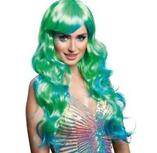 Unicorn Mermaid Ombre Teal And Turquoise Long Wavy Wig