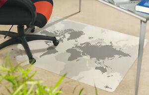1a Bodenschutzmatte Bürostuhlunterlage 120 x 100 cm Antirutsch Motiv Weltkarte