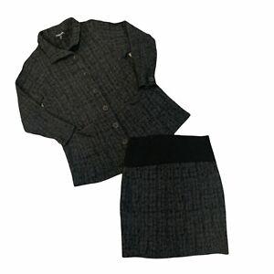 Eileen Fisher Wool Blend Blazer Skirt Set Women's Plus Size 1X Gray Button Top