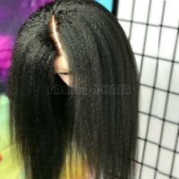 Glueless Yaki Kinky Straight Lace Front Wig 8A Brazilian Human Hair Wig Black gs