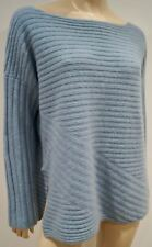 BAMFORD Pale Baby Blue 100% Cashmere Scoop Neck Chunky Rib Jumper Sweater M