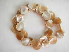 "15mm natural mother of pearl mop coin disc beads 15.5"" strand"