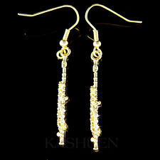 Flute Woodwind made with Swarovski Crystal Music Musical Instrument GT Earrings