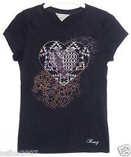 Ladies Glitter Heart Design Logo Black T-Shirt Small UK 8-10 Girls Age 14-15