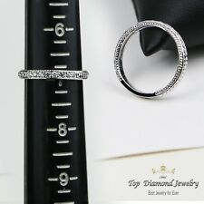 .22CT Vintage Diamond Hand Engraved Eternity Ring Antique Band 14KT White Gold
