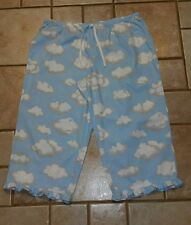 NICK & NORA BLUE W/ FLUFFY CLOUDS CAPRI LOUNGE PAJAMA BOTTOMS ONLY XXL #2626