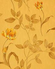 EDEM 769-32 Tapete Floral hochwertig geprägte Blumen Textil Optik ocker goldgelb