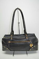 Lovcat Paris Genuine Leather Snake Embossed Trim Small Gold Studded Satchel