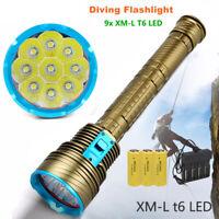 30000LM 9x XM-L T6 LED 18650/26650 Diving Scuba Flashlight Torch Underwater 200m