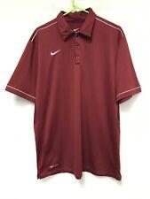 Nike Men's Dri-Fit Stripe Golf Polo Shirt Top Size L Burgundy