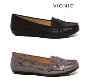 VIONIC CHILL LARRUN RRP £85 LEATHER ORTHOTIC LOAFERS FLATS SHOES WOMENS WIDE FIT