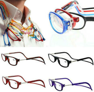 Folding Magnetic Reading Glasses Snap Click Front Neck Hanging Spectacles