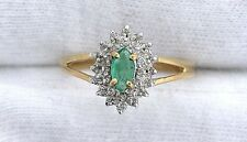 10Kt REAL Yellow Gold Emerald Diamond Gem Stone Gemstone Ladies Ring Size 6.75