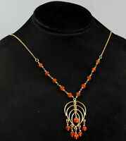 925 Sterling Silver Jewelry Carnelian Beads Gold Plated Party Wear Gift Necklace