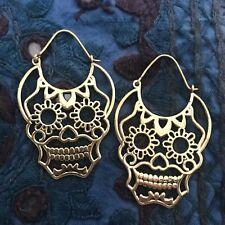'Day of the Dead' Skull Hoop Earrings in Brass