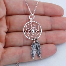 Dream Catcher Necklace - 925 Sterling Silver Dreamcatcher Web Feathers Bead NEW