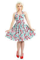 Women's Unique Floral Print 50s Rockabilly Swing Retro Vintage Flared Dress