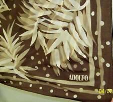 "Vintage ADOLFO Silk Crepe Foliage&Dots,Beige&Brown22""sq"