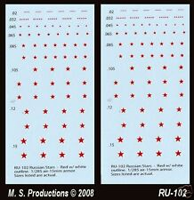 1/144 - 1/200 - 1/300 + 12mm & 15mm Decals - Russian Red Star White Line RU-102