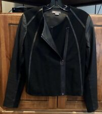 NWOT Vince Soft Leather Point Jacket Contrast Black Small Zip Ret: $795 GORGEOUS