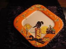Vintage HALLOWEEN Unused Paper Plate:CAT Anthro Post, HAUNTED HOUSE,MAN-IN-MOON
