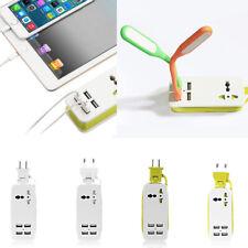 Power Strip Surge 5ft Extension Cord With 4 USB Ports US/EU Plug Portable