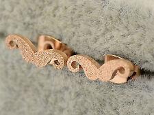 Women 14k Rose Gold Plated Titanium Mustache Beard Xmas Gift Earrings Ear Stud