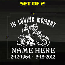"TWO DECALS In Loving Memory Of Chopper Motorcycle Biker 7.5x7"" Stickers Graphics"