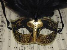 BLACK AND GOLD MASQUERADE MASK VENETIAN STYLE PARTY/FANCY DRESS BLACK FEATHERS