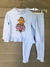 Vintage Garfield Girls Pajamas Top & Bottom Size 10 Blue 1982