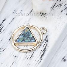 Zinc alliage base Charms Géométrique Plaqué Or Vert Triangle imitation opale 21 mm