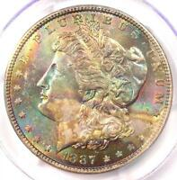 1887 Toned Morgan Silver Dollar $1 - Certified PCGS MS63 - Nice Rainbow Toning!