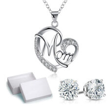 MOM 925 Pure Silver Necklace, diamond encrusted Mom Heart-shaped