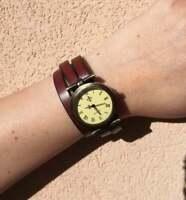 Orologio bracciale vintage, con cinturino in pelle fatto a mano