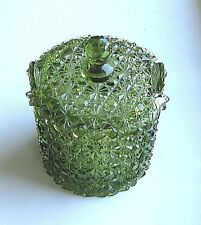 Green Glass  ICE BUCKET / CANDY BOX + LID  - QGC  Daisy & Button 5.5in  Fenton