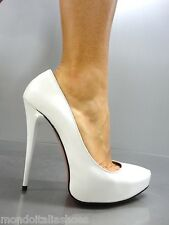 MORI ITALY PLATFORM HIGH HEELS PUMPS SCHUHE SHOES REAL LEATHER WHITE BIANCO 37