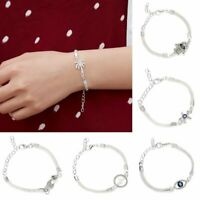 Hot Fashion Women Bangle Chain Bracelets Solid Silver Rhinestone Jewelry Gift