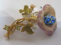 Vintage Rhinestone  Pin Brooch Flower