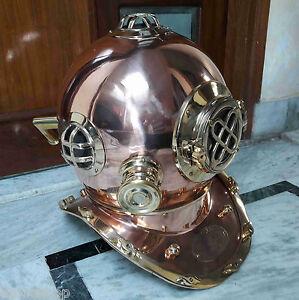 Antique Heavy Brass & Copper US Navy MK V Diver's Diving Helmet Marine